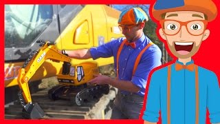 Learn about Diggers for Children with Blippi | Parts of an Excavator
