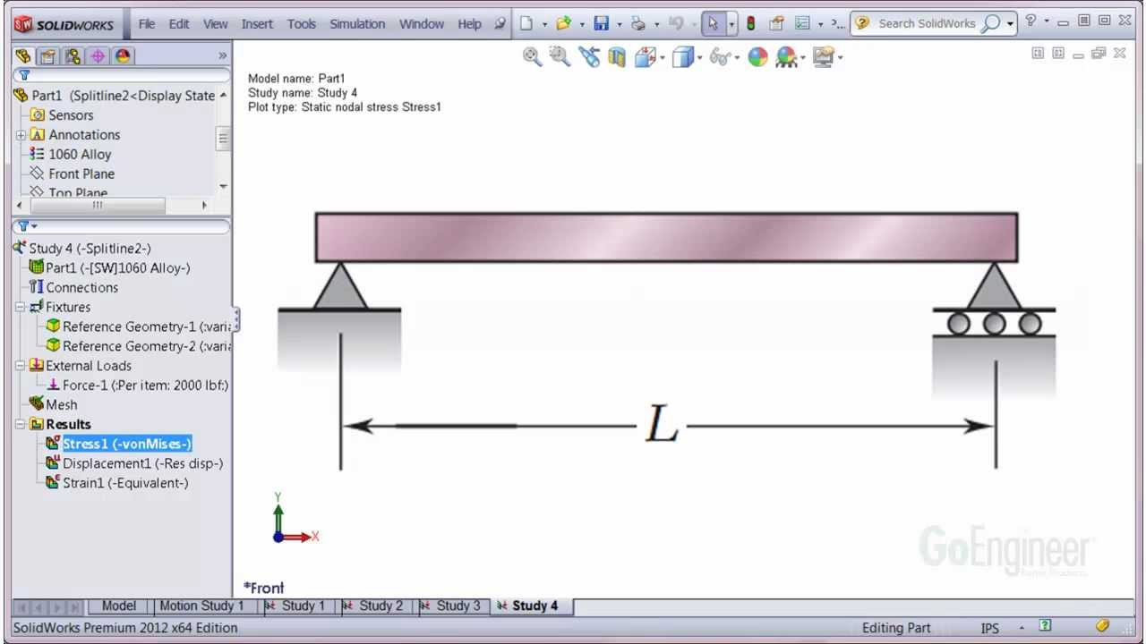 Solidworks Simulation Pinned End Support Beam Elements