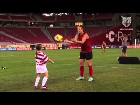 Nine-year-old YouTube pee-wee football sensation and soccer player, Sam Gordon, was invited by Abby Wambach to attend the U.S. WNT training and game in Glend...