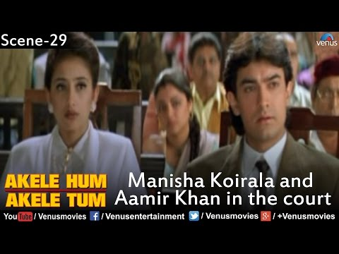 Manisha Koirala and Aamir Khan in the Court (Akele Hum Akele...