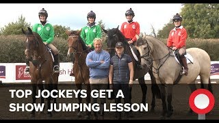 Top Jockeys get a Show Jumping Lesson