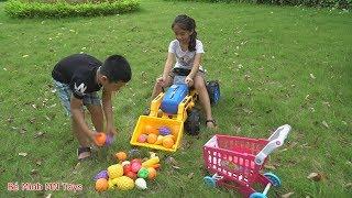 Trò Chơi Bé Lái Máy Xúc Ủi Hoa Quả Đồ Chơi - Bé Minh MN Toys