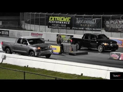 Supercharged Tundra vs Supercharged Harley Edition F150 - 12 second Truck Battle! Road Test TV