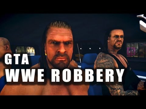 Triple H, Batista, Undertaker & Kane Attempt To Rob a Bank! GTA