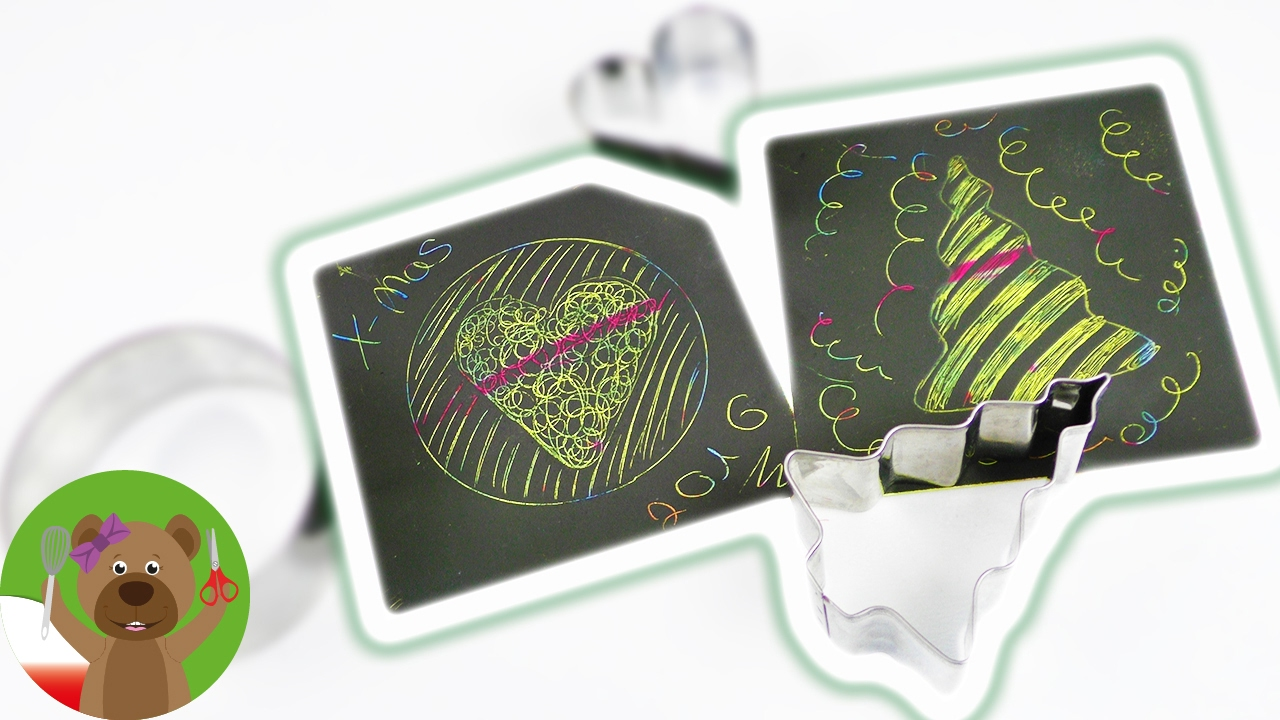 Rysunki - zdrapki   obrazki z foremkami do pieczenia   gwiazdki i serduszka