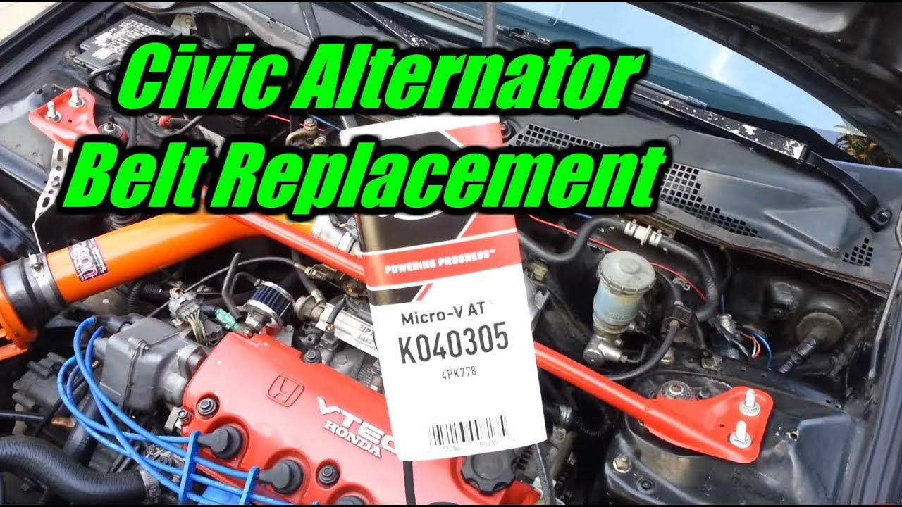 1992 1995 Honda Civic Alternator Belt Replacement YouTube