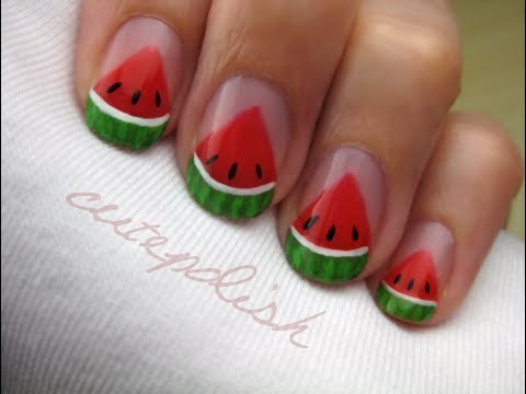 Watermelon Slice Nails Dinnyés körmök