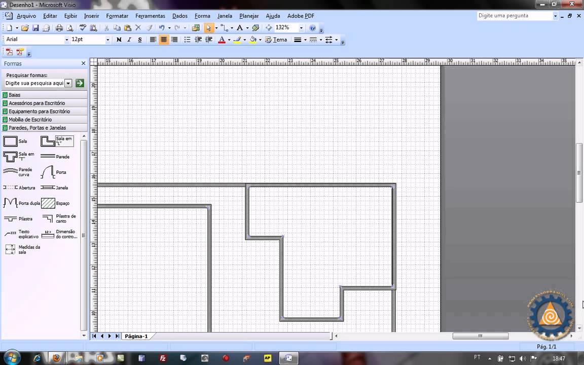 Ms Visio Aula 1 2 Como Criar Uma Planta Baixa De Layout