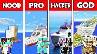 Minecraft - NOOB vs PRO vs HACKER vs GOD : FAMILY BOAT CHALLENGE in Minecraft Animation
