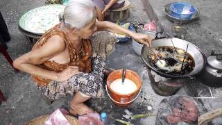 Frying Mung Bean Cake in Luang Prabang, Laos