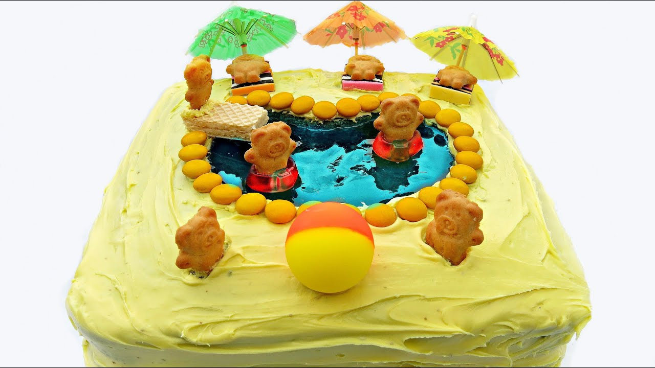 gummy swimming pool cake youtube ForSwimmingpool Gummi