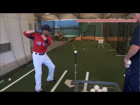 Dustin Pedroia Hitting Off Tee Drill Mechanics - Baseball Swing Instruction Boston Red Sox