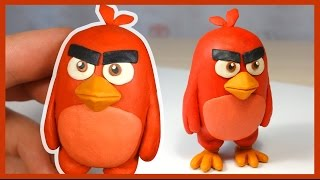 Как слепить Энгри Бердз из пластилина. Ред. Red (Angry Birds Movie) of plasticine.