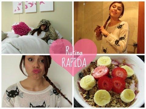 Rutina de mañana RAPIDA ♡ Outfit, Maquillaje, Peinado y Desayuno!