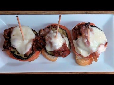 Pinchos de berenjena y beicon Vídeo receta 155 Aquí cocinamos todos. Cooking recipe