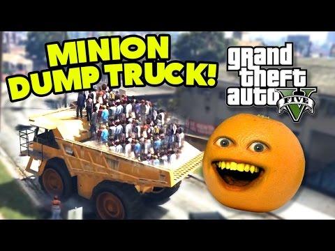 Annoying Orange - GTA V: Minion Dump Truck!!!