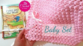 HOW TO CROCHET A BABY BLANKET #1 FAST & EASY BABY SET |☕ THE CROCHET SHOP