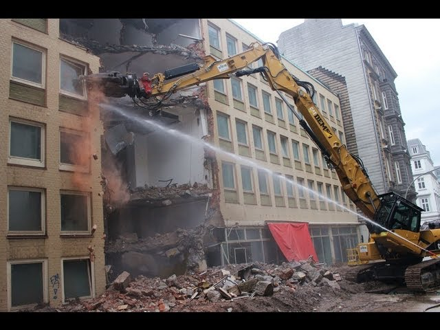 Caterpillar 336D Longfront DEM50 Ehlert Hamburg Abrissbagger excavator demolishing house