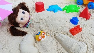 Baby doll sea swim and sand toys pororo play - 토이몽