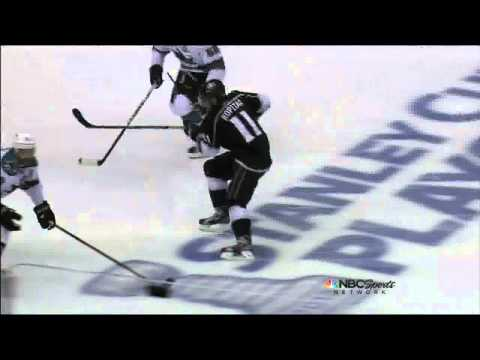 Anze Kopitar eats a Brown slapshot May 16 2013 San Joses Sharks vs LA Kings NHL Hockey