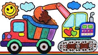 Coloring Dump Truck with Foam clay for Kids, Children | Excavators, Sun, cloud