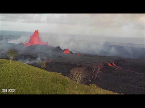 Helicopter overflights of Kilauea's fissure complex - May 22, 2018
