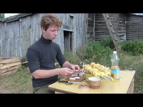 Готовим картошечку с салом на углях
