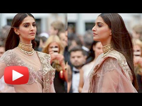 Cannes 2014 - Sonam Kapoor Poses In A Net Sari At Foxcatcher Premiere - Hot Or Not ?