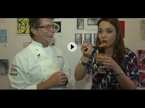 Rick Bayless and WGN's Ana Belaval at The Chicago Academy for the Arts