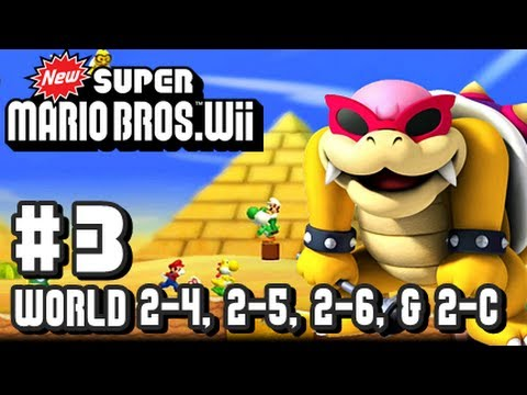 New Super Mario Bros Wii - Co-Op - Part 3 World 2-4, 2-5, 2-6, & 2-Castle