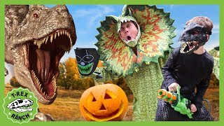 Dinosaur Halloween Party Goes Wrong! Spooky Trick or Treat at T-Rex Ranch With Dinosaurs For Kids