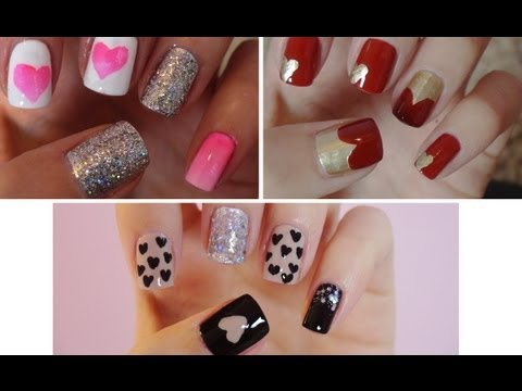 Three Easy Valentine Nail Tutorials