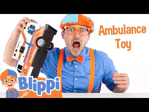Blippi Toys with an Ambulance  | Teach Colors