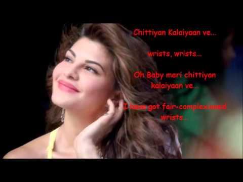 Chittiyan Kalaiyaan Lyrics with  Translation