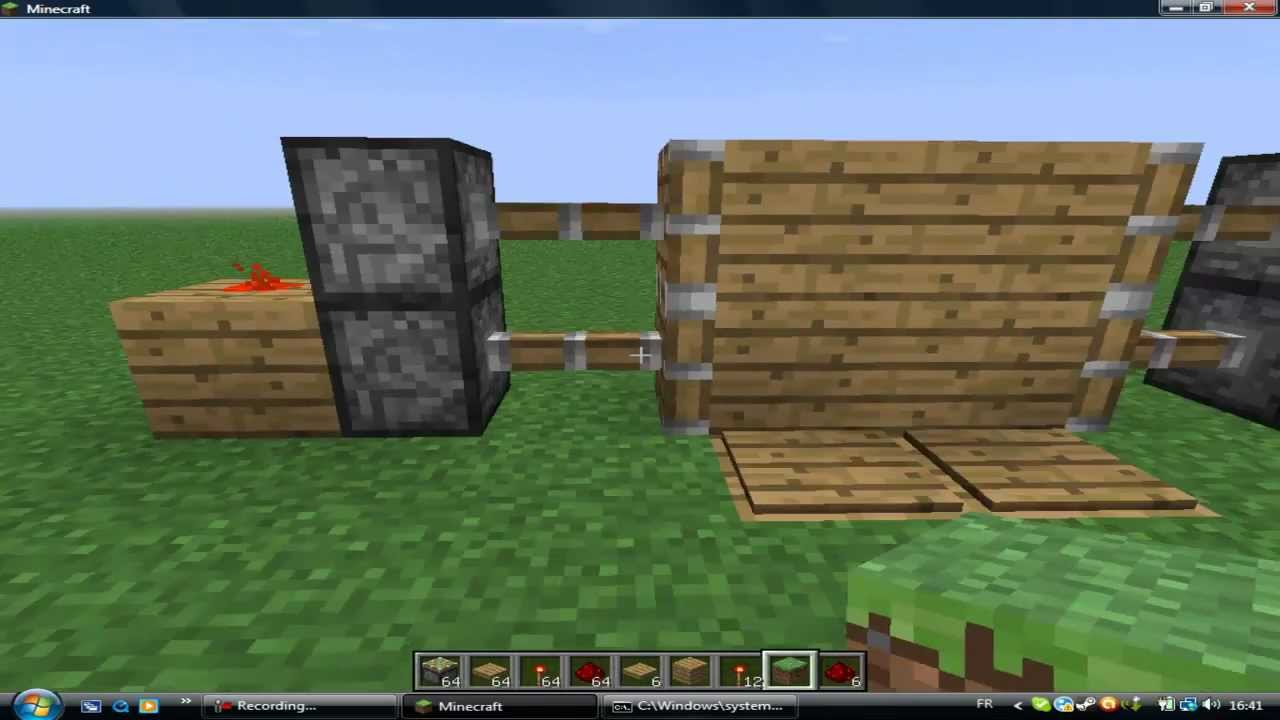 tuto sur comment faire une porte automatique sur minecraft. Black Bedroom Furniture Sets. Home Design Ideas