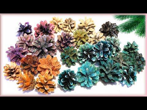 Чем быстро покрасить шишки для декора - 3 красителя / Как покрасить шишки для поделок
