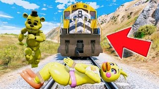 GOLDEN FREDDY SAVES CHICA FROM THE TRAIN HITTING HER! (GTA 5 Mods For Kids) RedHatter