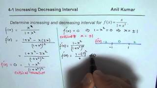 How to find increasing and decreasing interval for continuous rational function