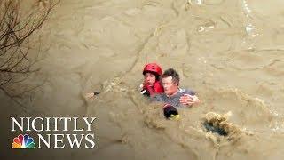 Powerful Storm Slams California Bringing Flooding, Rescues And Evacuations   NBC Nightly News