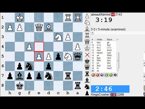 Chess World.net: Live Blitz Chess #1964 vs abeautifulmind (2143) - Benkö gambit half accepted