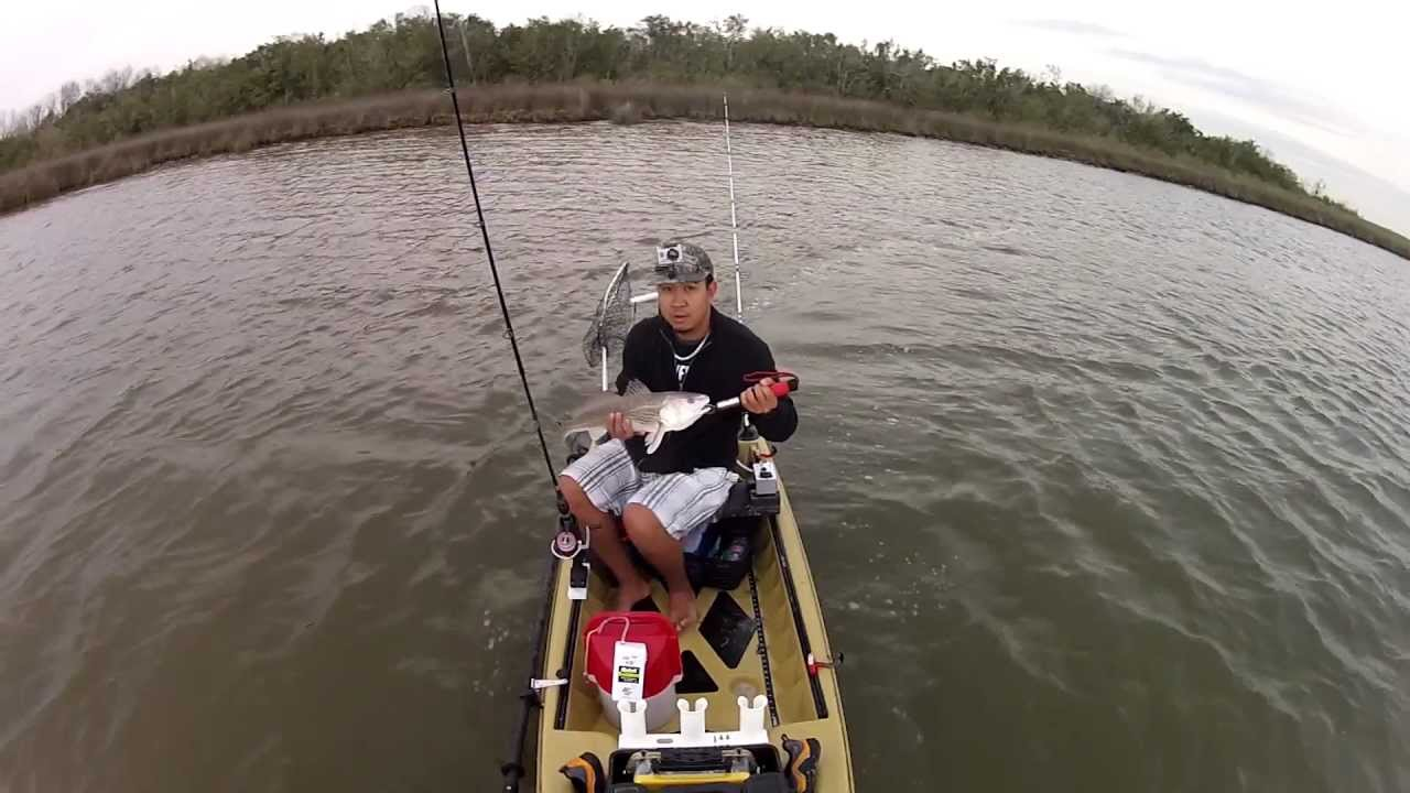 Motorized kayak fishing galveston texas redfish youtube for Fishing galveston tx