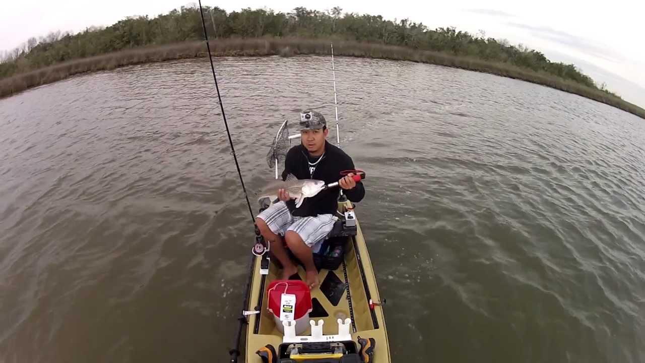 Motorized kayak fishing galveston texas redfish youtube for Good fishing spots in galveston