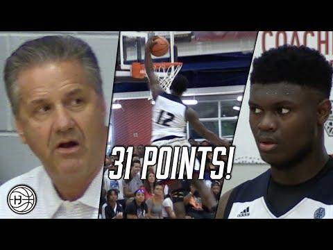 Zion Williamson CRAZY COMEBACK vs KJ Fitzgerald  in front of Coach Calipari!