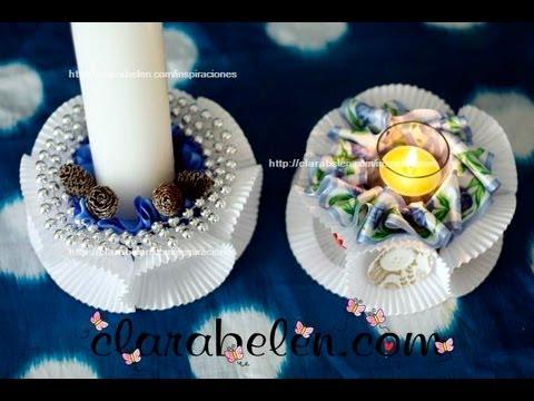 Manualidades navide as centro de velas econ mico para for Centro mesa navidad manualidades