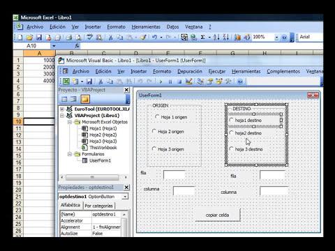 Excel 2003 vba: Formulario para copiar y pegar celdas entre hojas - Video 1/3