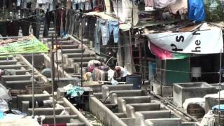 The big laundry of Mumbai at Dhobi Ghats (India)