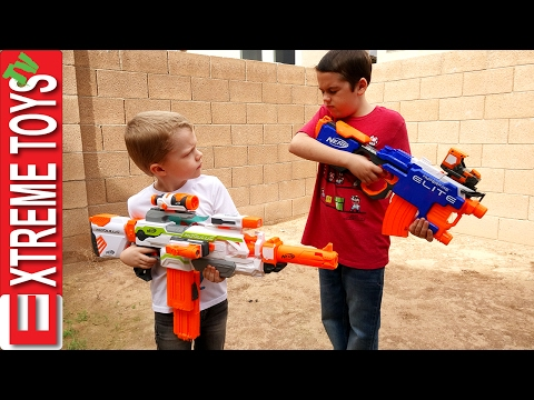 Nerf Gun Fight! Ethan with the Nerf Hyperfire Vs Cole with the Nerf Modulus Ecs-10 Blaster