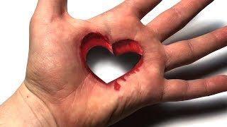 Drawing Heart 3D Trick Art on Hand - Dirty Mind Trick Surprise Drawing