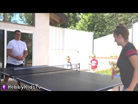 Ping Pong Table! Game of Family Fun Contest + Table Tennis Competition HobbyKidsTV