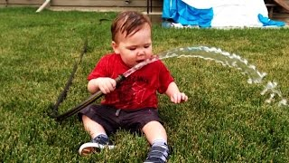 Funny Kids Trying to Drink Water From Hose